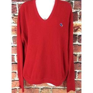 Vintage oversized Izod Lacoste V Neck Sweater L